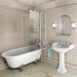 Burlington C10 шторка на ванну с открывающейся панелью, цвет Хром
